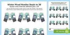 Winter Themed Mixed Number Bonds to 20 Activity Sheet English/Italian