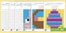 * NEW * Mozaic de Paște: Calculează  produsul și colorează după codul culorilor - Fișe de lucru  diferențiate