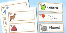 Wren Themed Editable Drawer-Peg-Name Labels