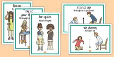 Classroom Instructions Display Posters Romanian Translation
