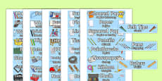 Classroom Equipment Tray Labels Polish Translation