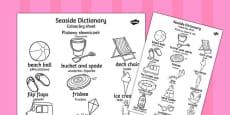 Seaside Dictionary Colouring Sheet Polish Translation