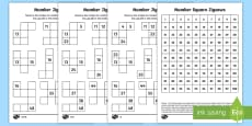 * NEW * Number square jigsaws Activity Sheets