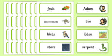 Adam and Eve Creation Story Word Cards