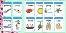 Spring Pictures and Words Flashcards (Australia)