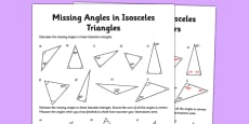 Calculating Angles of Isosceles Triangles Activity Sheet