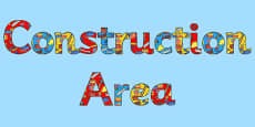 Construction Area Display Lettering