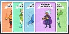 Editable Class Group Signs (Superhero)