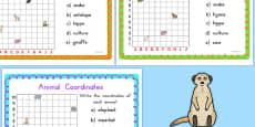 Australia - Animal Coordinates Maths Challenge Cards