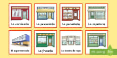 * NEW * Shops in Town Matching Cards Spanish