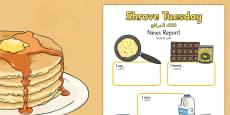Shrove Tuesday Event Writing Report Arabic Translation