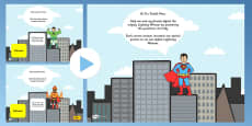 Superhero Themed Adaptable Starter And Plenary PowerPoint