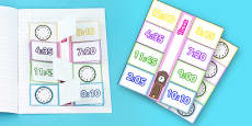 Time Writing Clocks Foldable Visual Aid Template