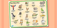Pets Word Mat Arabic Translation
