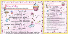 Fairy Cake Recipe Sheet