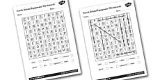 French School Equipment Wordsearch