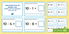 * NEW * Subtraction from 10 Number Line Challenge Cards English/Romanian