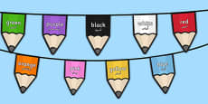 Colours on Pencil Bunting Arabic Translation
