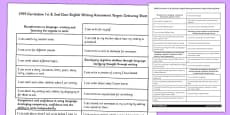 1999 Curriculum 1st & 2nd Class English Writing Assessment Targets Colouring Sheet