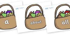 100 High Frequency Words on Baskets
