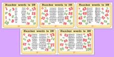 Number Words Up To 100 Mats