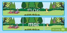 * NEW * Banderole d'affichage: Mai - Les mois de l'année