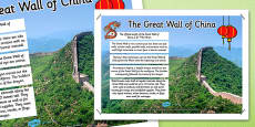 The Great Wall of China Facts Display Poster