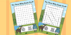 The Three Billy Goats Gruff Wordsearch