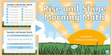 * NEW * Rise and Shine Kindergarten Morning Math Counting and Cardinality 1 PowerPoint