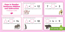 Gaps in Number Sentences Addition and Subtraction Challenge Cards