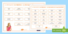 Adjectives for Physical Description and Personality Word Mat Spanish Translation