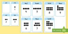 البطاقات الخاطفة لتعليم الأرقام من من 0 إلى 10