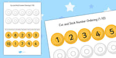 Pirate Themed Cut and Stick Number Ordering Activity 1-10