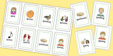 Two Syllable QU Flash Cards