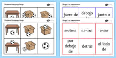 Spanish Positional Language Bingo Spanish / Español