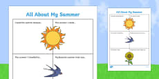 All About My Summer Activity Sheet