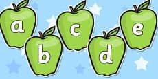 A-Z Alphabet on Apples