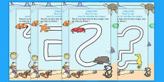 Under the Sea Pencil Control Path Worksheet French