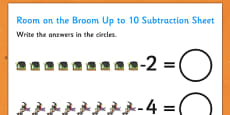 Subtraction Up to 10 and 20 Sheet to Support Teaching on Room on the Broom