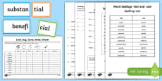 Words ending in 'cial' and 'tial' Spelling List and Activity Sheet Pack