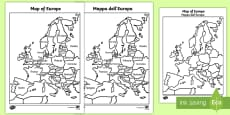 Map of Europe With and Without Names English/Italian