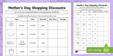 * NEW * Mother's Day Shopping Discounts Activity Sheet