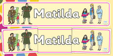 Display Banner to Support Teaching on Matilda
