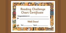 Reading Challenge Chart Certificates Pirate Themed