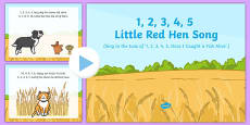 1, 2, 3, 4, 5, Little Red Hen Song PowerPoint