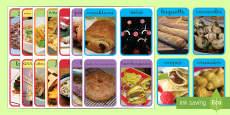 Tarjetas de vocabulario:  La comida del mundo