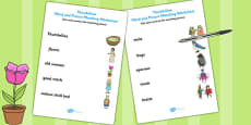 Thumbelina Word and Picture Matching Activity Sheet