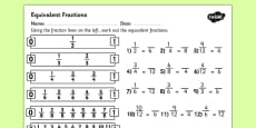 Equivalent Fractions Activity Sheet
