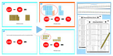 Year 2 Subtracting 2 Digit Numbers and Tens Crossing 100 From Same 10s Lesson Teaching Pack