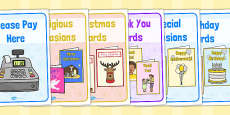 Card Shop Role Play Signs